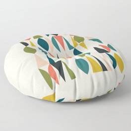 Mid Century Modern Abstract Colorful Shapes Funky Cool Minimalist Pattern Floor Pillow