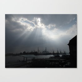 skyward cranes Canvas Print
