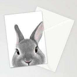 Netherland Dwarf rabbit Grey, illustration original painting print Stationery Cards