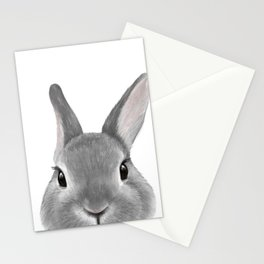 Netherland Dwarf rabbit Grey, illustration original painting print Stationery Cards