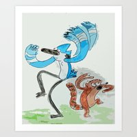 regular show Art Prints featuring The Regular Show 'OOHHHH'  by Renatta Maniski-Luke
