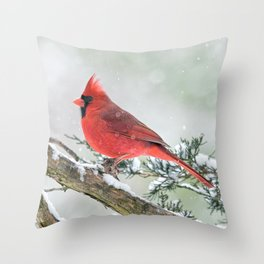 Cardinal Holding Steady in the Storm Throw Pillow