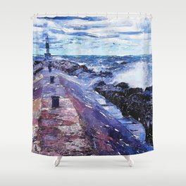Lake Michigan Waves Shower Curtain