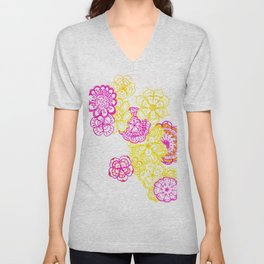 28. Colourful Pink and Yellow Flower in Henna World Unisex V-Neck