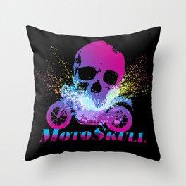MotoSkull 04 Throw Pillow
