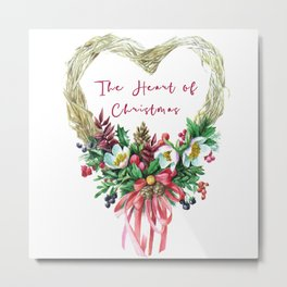 The Heart of Christmas Wreath Metal Print