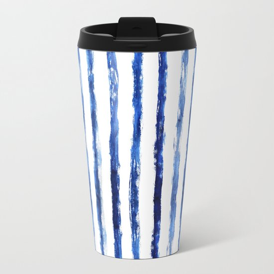 Blue painted stripes Metal Travel Mug