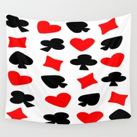 suits Wall Tapestries featuring Red And Black Card Suits by Justbyjulie