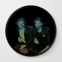 ed sheeran Wall Clocks featuring Friends by Ed Sheeran- Larry  by JodiYoung