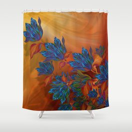 """Blue flowers on orange silk"" (Air Spring at night) Shower Curtain"