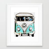 volkswagon Framed Art Prints featuring CarPool by Adrienne