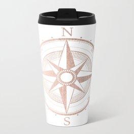 Rose Gold Compass Metal Travel Mug
