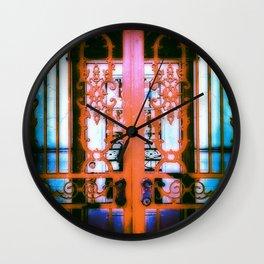 Ornate Iron Gate Red Wall Clock
