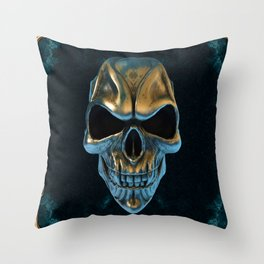 Skull in gold and turquoise Throw Pillow
