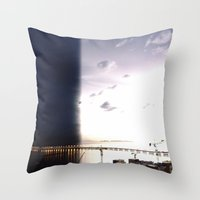 return Throw Pillows featuring return stroke by Gray