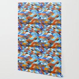 Triangle Pattern no.18 blue and orange Wallpaper