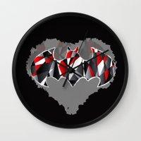 superheros Wall Clocks featuring S-01 Bat Man by BriCreative