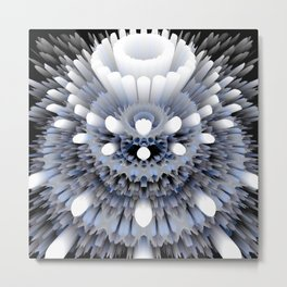 3D layers of mandala in blue-white-grey-black Metal Print