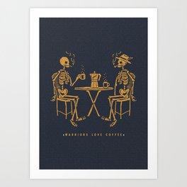 Warriors Love Coffee Art Print
