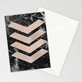 Black marble & rose gold chevrons Stationery Cards