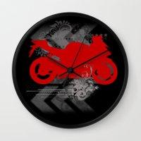 racing Wall Clocks featuring Racing by Ezgi Kaya