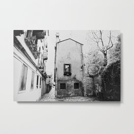 Venice, Italy, Film Photo, Analog, Black and White Metal Print