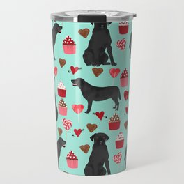 Black Lab love hearts cupcakes valentines day dog breed pet art gifts labrador retriever breed Travel Mug