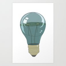 Life in a lightbulb. Night Art Print