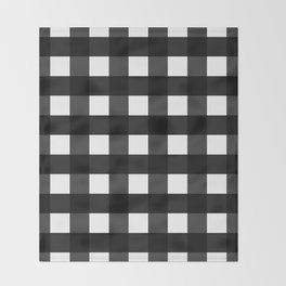 Contemporary Black & White Gingham Pattern Throw Blanket