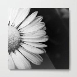 Black and White Flower Macro photography monochromatic photo Metal Print