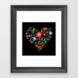 Floral heart on black Framed Art Print
