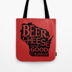 Red and Black Beer, Cheese and Good Company Wisconsin Graphic Tote Bag