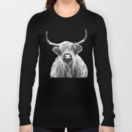 Black and White Highland Cow Portrait Long Sleeve T-shirt