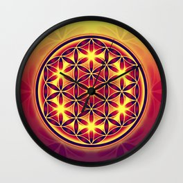 FLOWER OF LIFE batik style yellow red Wall Clock