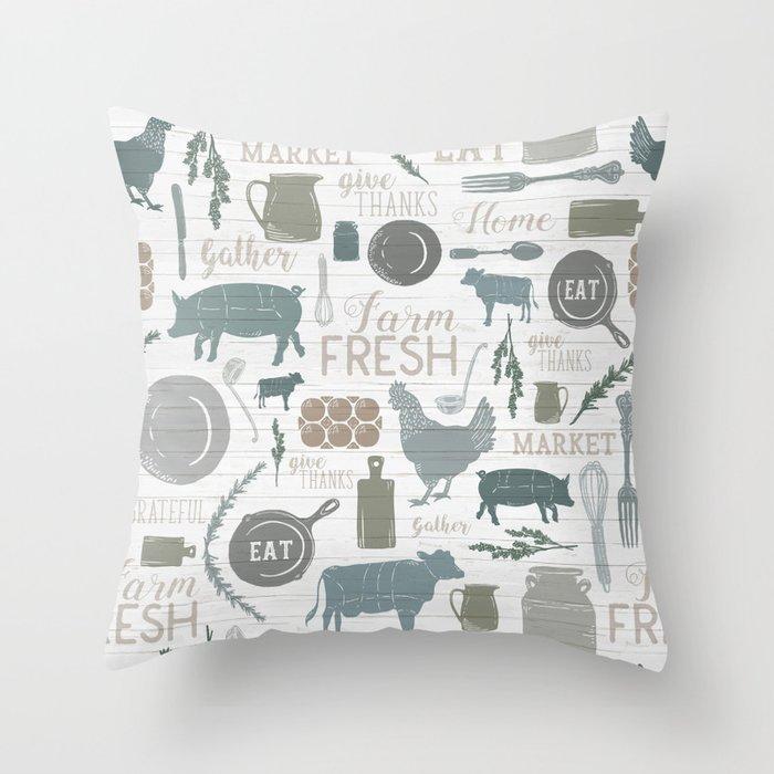 Modern Farmhouse // Gather Round & Give Thanks Throw Pillow