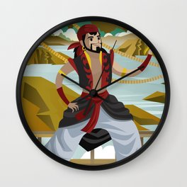 sinbad arabian sailor adventurer with sword in ship Wall Clock