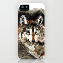 Totem Mexican Wolf ( Watercolor ) iPhone Case