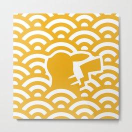 Seigaha yellow and white Metal Print
