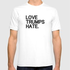 Love Trumps Hate White MEDIUM Mens Fitted Tee