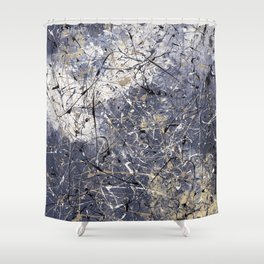 Orion - Jackson Pollock style abstract drip painting by Rasko Shower Curtain