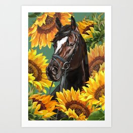 Horse with Sunflowers Art Print