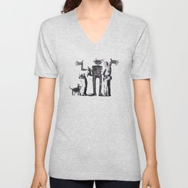 Banksy Boy and Dog in a Stop and Search Basquiat Homage Artwork, Capitalism Criticism, Artwork for P Unisex V-Neck