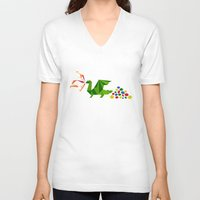 dragon V-neck T-shirts featuring dragon by pixel.pwn   AK