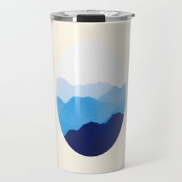 Colorful Blue Mountains Ombre Silhouette Travel Mug