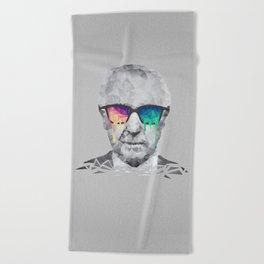 Albert Hofmann - Psychedelic Polygon Low Poly Portrait Beach Towel