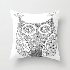 Owl Doodle art Throw Pillow