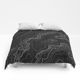 Black & White Topography map Comforters