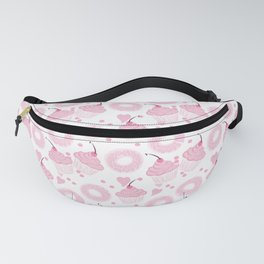 Pink Cupcakes and Donuts - White Fanny Pack