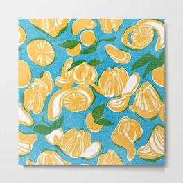 Happy Mandarin Oranges Riso Metal Print