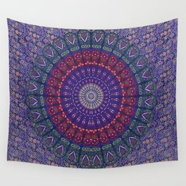 Blue Mandala Hippie Design Wall Tapestry